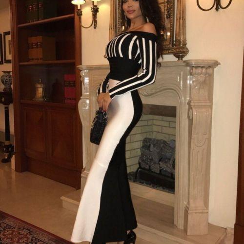 Women Off-Shoulder Sexy Stripped Bodycon Midi Dress Contrast Color Slim-Fit Vintage Mermaid Dresses Vestidos De Festa