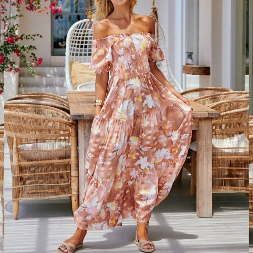 Western Style Summer Dress Loose Casual Fashion Vacation Beach Sexy Chiffon Printing One Shoulder Sleeve Draw Back