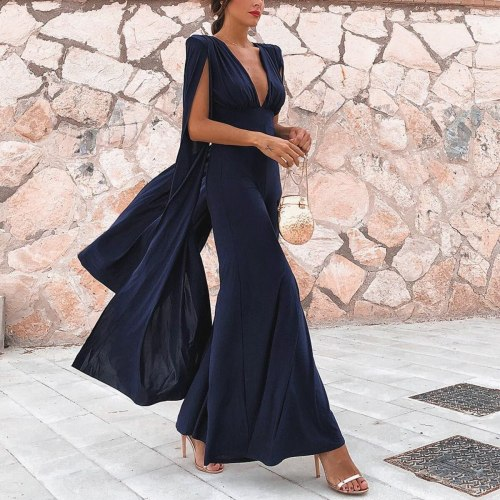 Sexy Backless Deep V Neck Jumpsuit Women Long Sleeve Elegant Slim Wide Leg Solid Plus Size Party Club Rompers New Woman Bodysuit