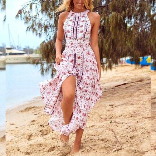 Spring casual printed women dress hanging neck slim sexy beach vacation bohemian long dress summer sleeveless party dress