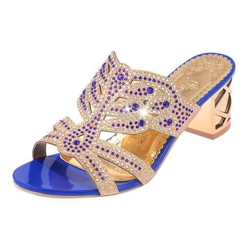 Woman Summer Sandals Gold Open Toe Sandal Lace Dress Shoes Womens High Heels Sandals Square Heeled Pumps Ladies Shoes