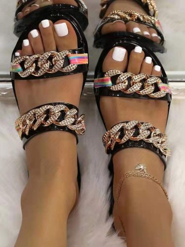 Summer New 2021 Sexy Women Flip Flops Doubule Chains Flat Sandal Slippers Shoes Woman Lady Flats Slippers Sandals Designer Shoes