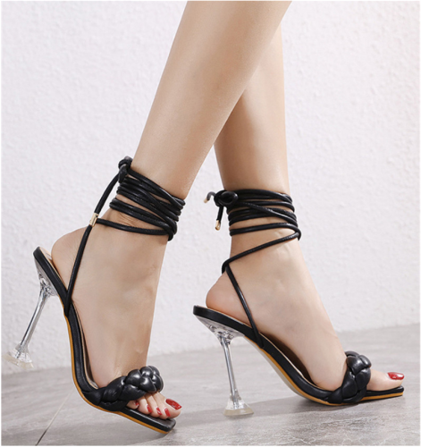 High Heeled Sandal New High Quality PU Woven Upper Ladies Summer Party Sandal Peep Toe Sandal Fashion Party Sandal for Ladies