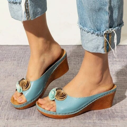 Rome Casual Sandals Women Wedges Sandals Flowers Open Toe Fish Mouth Med Summer Women Shoes Fashion 2020 High Heel Shoes