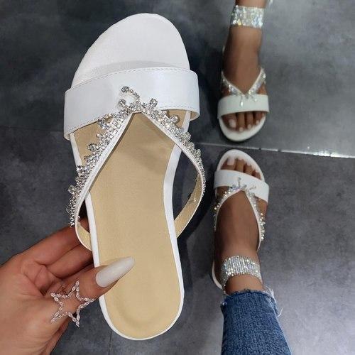 Big Size Slippers Women Summer Slides Shoes Rubber Flip Flops Fashion Low Pantofle Hawaiian Glitter Luxury 2021 Flat Crystal Hoo