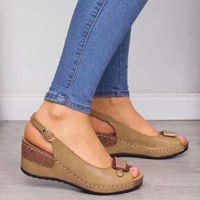 2021 Summer Women Ladies Wedge Strap High Heels Sandals Sexy Buckle Platform Gladiator Fashion Open Toe Elevator Roman Shoes