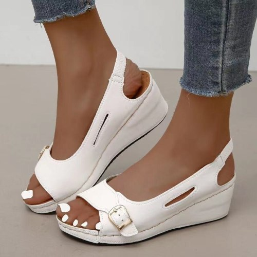 Ladies Summer New Metal Hollow Red Fish Mouth Sandals Casual Buckle Wedge Heel Outdoor Running Retro Youth Platform Sandals