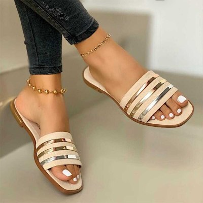 Ladies Slippers Beach Shoes Women Slip On Bling Gold Flat Slides Outdoor Comfort Slipper Female Casual Sandals Plus Size 35-43