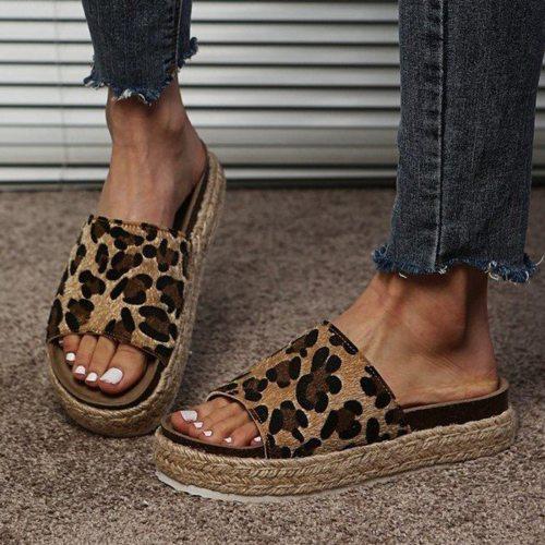 Summer Women's Fashion Casual Leopard Printed Open Toe Flats Bohemia Platforms Sandals Beach Shoes Plus Size zapatos de mujer