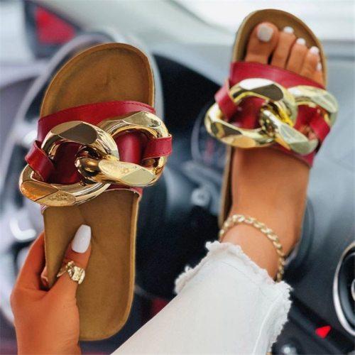 New Summer Women's Open Toe Sandals Casual Big Size Slippers Ladies Fashion Chain Slides Female Outdoor Luxury Beach Flip Flops