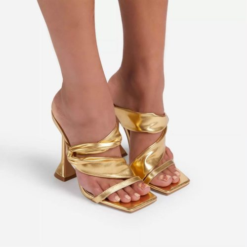 Women Party Shoes Summer High Heels Large Size Fish Mouth Fashion Pleated Gold Solid Stiletto Ladies Sandal  Zapatos De Mujer
