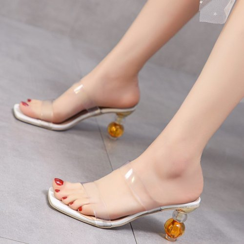 Summer Gladiator Sandals 2021 Strange Heel Women Sandals Square Toe Transparency PVC Sandals Ladies Mules Feminina Casual Slides