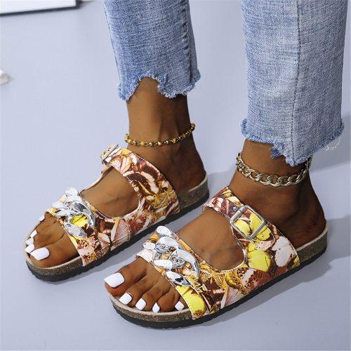 Lapolaka Mixed Colors Flat Heel Leopard Sandals Metal Decoration Summer Leisure Cozy 2021 Summer New Women Beach Shoes Sandals