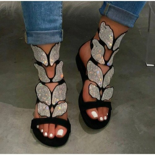 Women Sandals Rhinestone Flats Ankle Strap Summer Beach Shoes Womens Buckle Gladiator Female Bling Ladies Fashion Plus Size