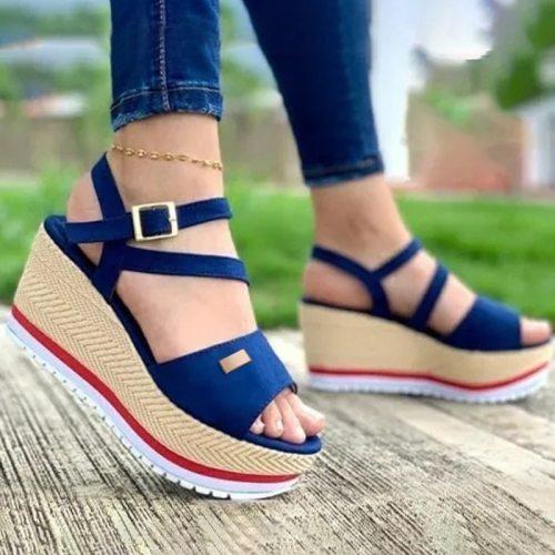 Women Sandals 2021 New Heels Shoes Woman Slippers Platform Wedges Shoes Ladies Summer Slides Mujer Buckle Flip Flops Plus Size