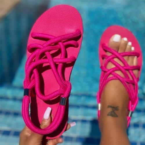 2021 Summer Sandals Woman Shoes Braided Rope Beach Shoes Open Toe Ladies Beach Sandals Roman Gladiator Sandals Non-slip Flip Flop