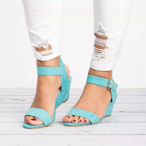 Women Shoes Platform Sandals Women Flock Peep Toe High Wedges Heel Ankle Buckles Strap Sandalia Roman Female Soft Sole Shoes