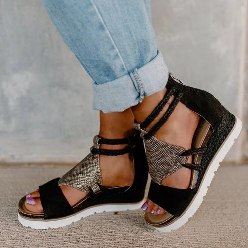 Women's Sandals Summer Ladies Fashion Casual Wedge Heel Open Toe Fish Mouth Foreign Trade Roman Style Sandals Shoes Plus Size
