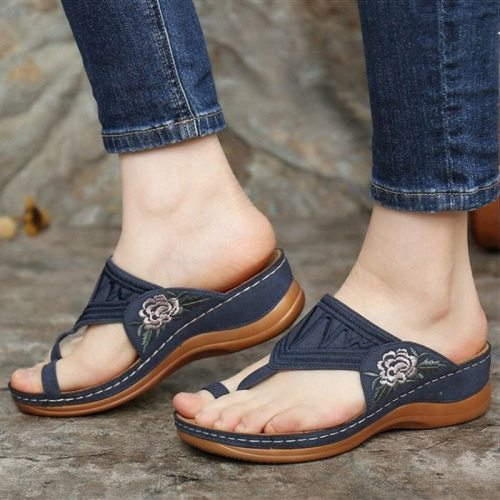 Women Sandals 2021 New Embroidery Summer Shoes Woman Wedges Shoes For Heels Sandalias Mujer Flip Flops Platform Women Slippers