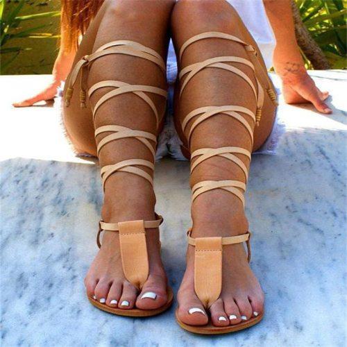 2021 Summer Women Sandals Roman Gladiator Bandage Sandals Knee Flats Slides Fashion Women Shoes Girls Beach Shoes Plus Size