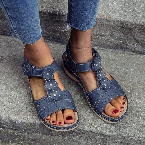 2021 Women Summer Sandals Flower Hollow Out Wedges Shoes Woman Vintage Gladiator Office Sandalias Party Beach Shoes Plus Size