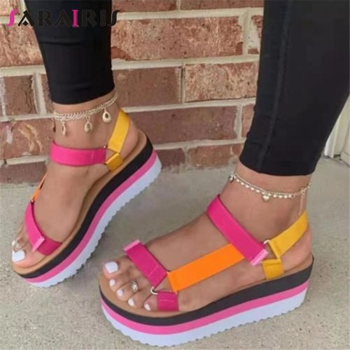 SaraIris Mixed Color Hook Loop Open Toe Sandals Women Thick Bottom Casual Fashion Sandals Ladies Shoes