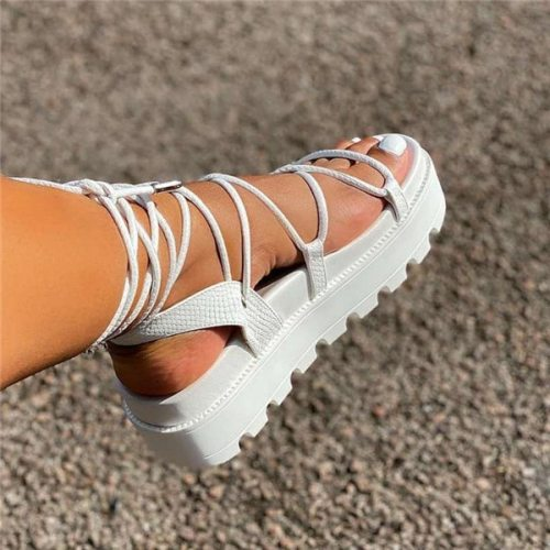 Women's Gladiator Sandal Woman Platform Wedge Cross Tied Casual Shoe Summer Sexy Lady Ankle Wrap Lace Up Footwear Plus Size