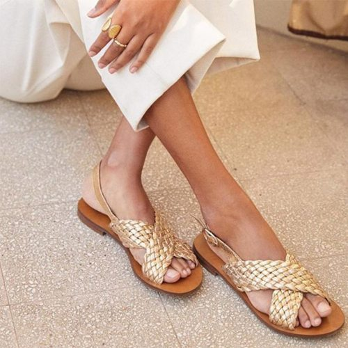 Woman Sandals Buckle Strap Cross Gladiator Open Toe Roman Flats Shoes Strappy Beach Sandals Plus Size Sandalias Mujer Summer