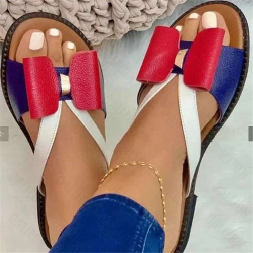 Women's Flip Flops Fashion Bowknot Summer Open Toe Flat Casual Slippers Shoes Women Flats Loafers Sandals Slippers Slides Shoes