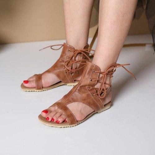 Women Sandals Fashion Female Summer Retro Lace Up Shoes Ladies Casual Comfort Shoe Zip Rome Female PU Footwwear  2021 New