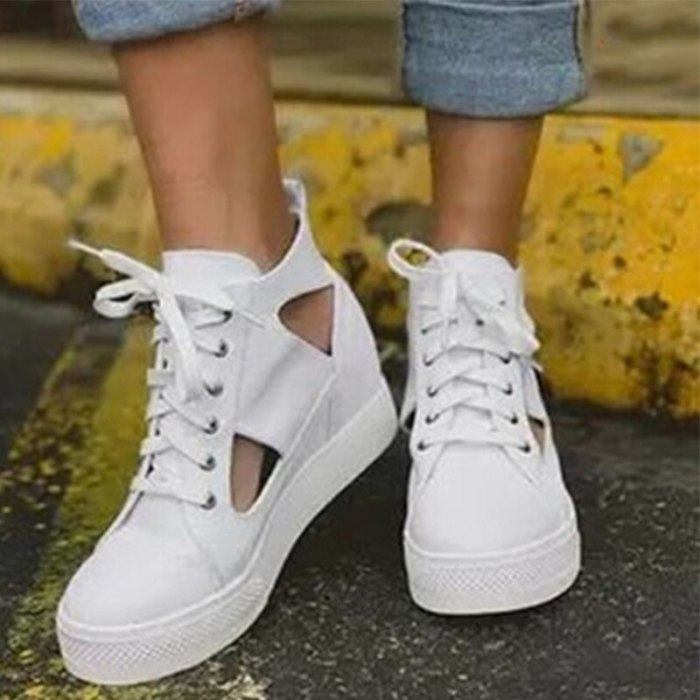 Sneaker for Women Big Size 43 Shoe Leopard Fashion Vulcanized Woman Hollow Out Shoes Female Comfort Lace Up Flat Ladies Footwear