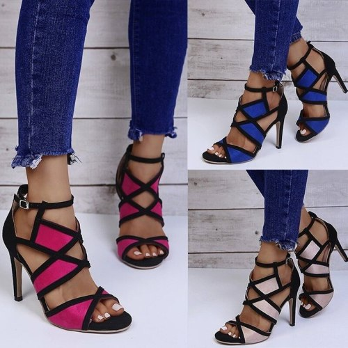Shoes Heels Roman Style Peep Toe Nude Slip On Lace-Up 3cm Fine Slip-On Casual Rome Rubber Square heel Basic PU Zip Med Sew