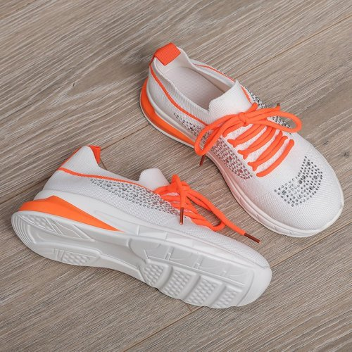 Women Vulcanized Shoes Air Mesh Crystal Lace-Up Solid Flat Casual Female Sneakers Fashion Comfortable Plus Size Ladies Footwear