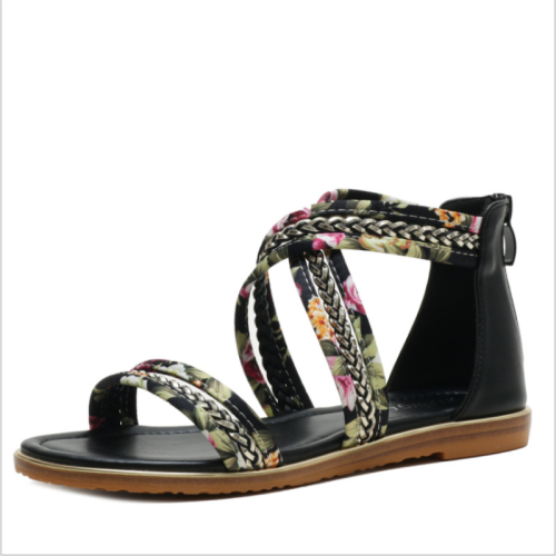 2021 New Style Sandals Female Summer Flat-bottom Fairy Tale Style Open-toed Floral Cloth Word with Non-slip Roman Shoes  ZZ011