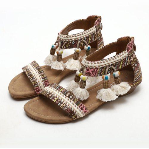 2021 New Style Beautiful Women Sandals  Bohemian Tassels Roman Shoes for Girl