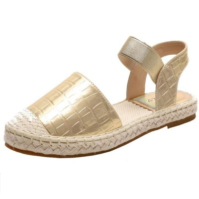 Women's Shoes Outer Wear Sandals Summer New Soft-Soled Straw Flat Sandals For Women Large Size Gold Sliver Black