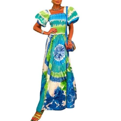 2021 Summer Women New Fashion Tie-Dye Swirl Print Bohemian Holiday Short Sleeve Party Dress Casual Long Plus Size Dress