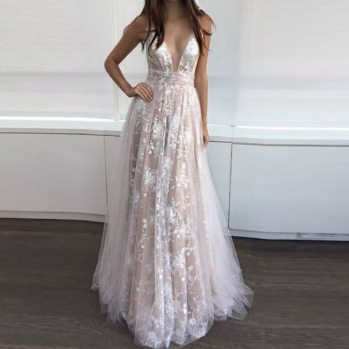European and American New Style for Autumn and Winter Dress Popular Lace Deep V Dress