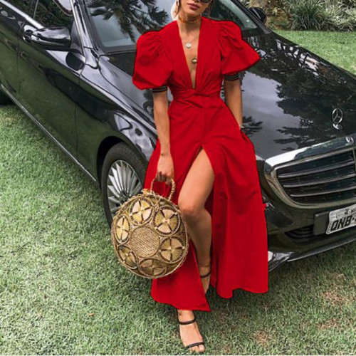 2021 Summer New  Women's Dress V-Neck Puff Sleeve Split  Solid Color Single-Breasted Europe America Fashion Dress