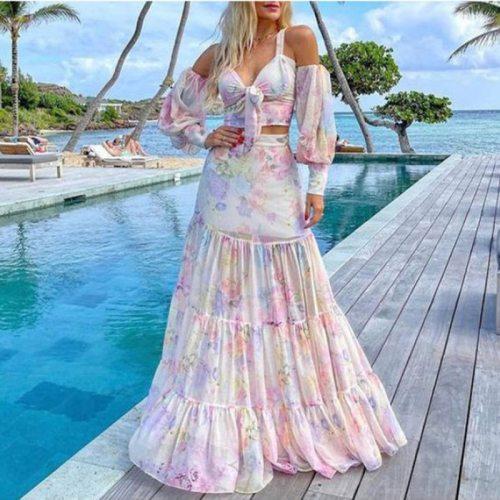 2021 Summer Women Beach Dress Casual Fashion Slim Street Sexy Print Elegant Loose Banding One-Line Neckline Long Dress