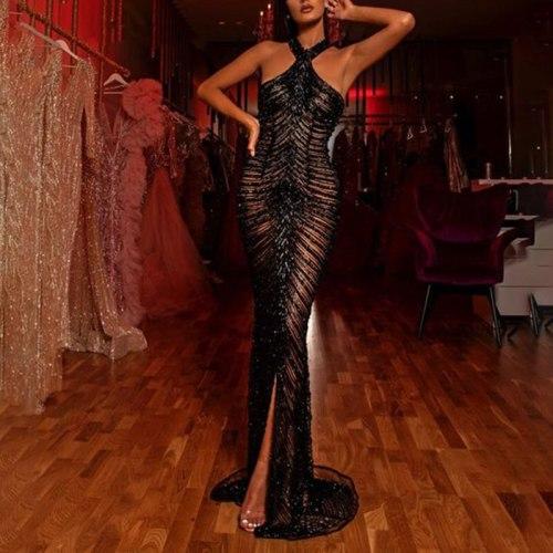 Long Sheer Black Dress Mermaid Beaded Halter Neck Cross Open Back Front Slit Custom Made Formal Dresses