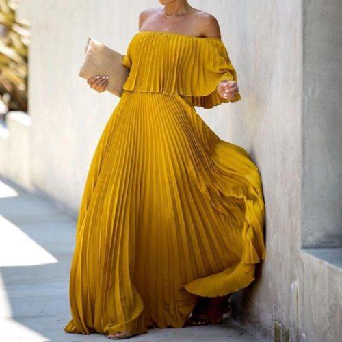 Fashion Lady Pleated Long Party Dress Spring Summer Sexy Strapless Maxi Dresses Elegant Ruffle Off Shoulder Women Chiffon Dress