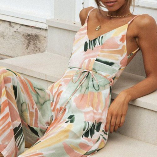 2021 Summer New Bohemia Casual Printing Backless High Waist Fashion Sexy Jumpsuit V-neck Sleeveless Loose Casual