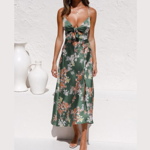 Women Sexy Deep V Neck Slim Party Dress Ladies Elegant Floral Summer Sleeveless Long Split Dress Clubwear Strap Femme Dress 2021