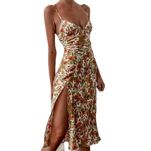 2021 summer feminine sling floral split casual dress
