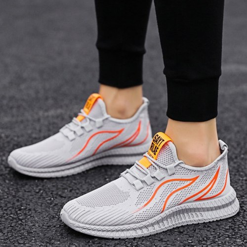 Fashion Men's Comfortable Running Shoes Pure Color Flying Woven Mesh Lace-up Breathable Soft Bottom Running Sneakers