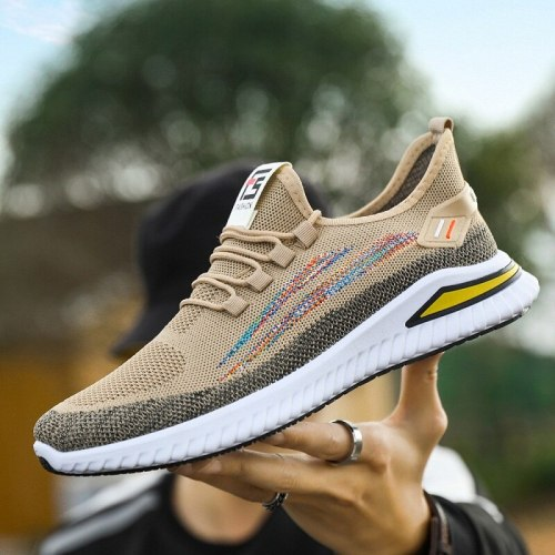 Men's Sports Shoes 2021 Spring Autumn New Flying Woven Breathable Net Shoes Outdoor Running Shoes Student Casual Shoes sneakers