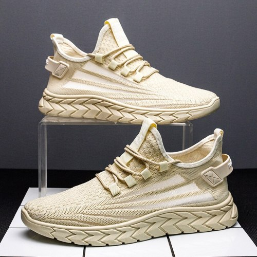 2021 Summer New Mesh Solid Color Wear-Resistant Low-top  Flat Shoes Sneakers Men Sport Shoes Men Comfortable Casual Fashion