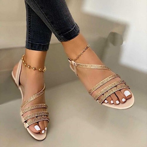 Women Sandals Woman Flat Ladies Sexy Narrow Band Buckle Shoes 2021 Summer Fashion Bling Sequins Crystal Footwear Plus Size 35-43