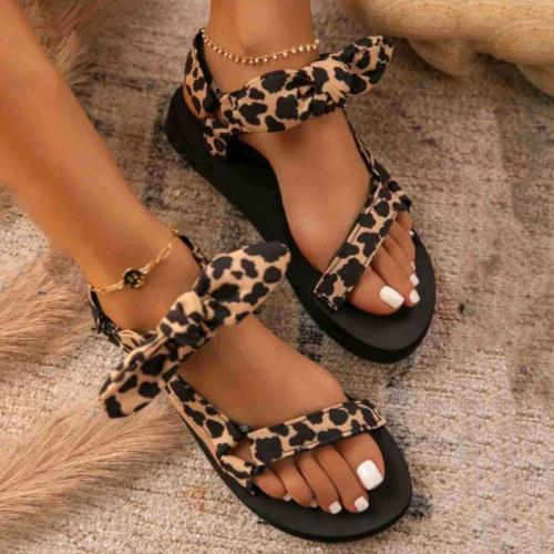 New Women Sandals Color Flat Casual Lace Up Bow Shoes for Ladies Summer Fashion 2021 Outdoor Leopard Beach  Mujer